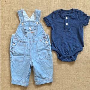 EUC Gap chambray farm embroidery overalls & onesie
